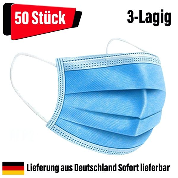 OP Masken Mundschutz Nasenschutz 3-lagig blau 50 Stück