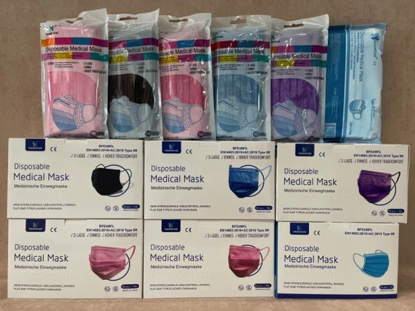OP Masken medizinisch farbig 50 Stück Typ IIR