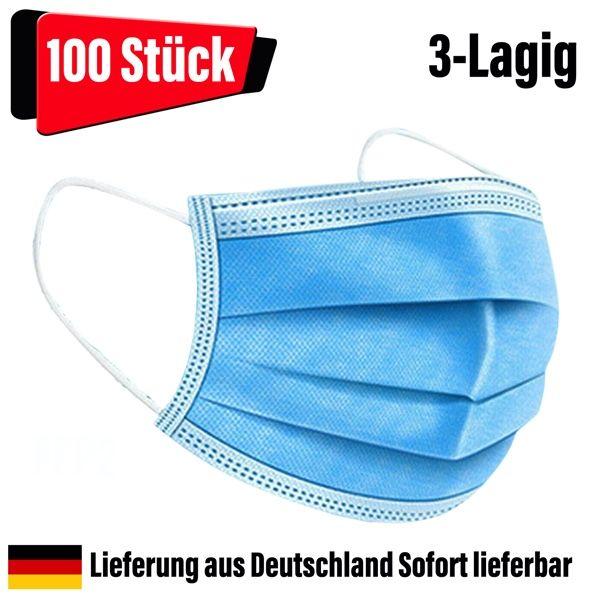 OP Masken Mundschutz Nasenschutz 3-lagig blau 100 Stück